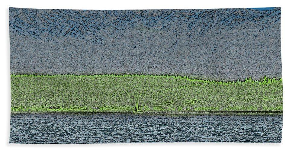 Sailboat Bath Sheet featuring the digital art A Perfect Ending by Tim Allen