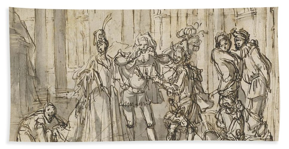 Hand Towel featuring the drawing A Performance By The Commedia Dell'arte by Claude Gillot