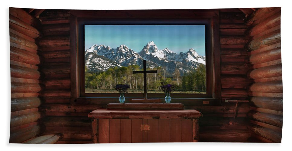 Hdr Hand Towel featuring the photograph A Pew With A View by Sandra Bronstein
