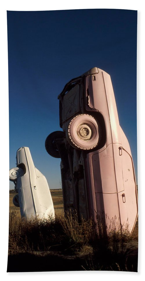 Carhenge Bath Sheet featuring the photograph A Pink Caddilac In The Morning by Jerry McElroy