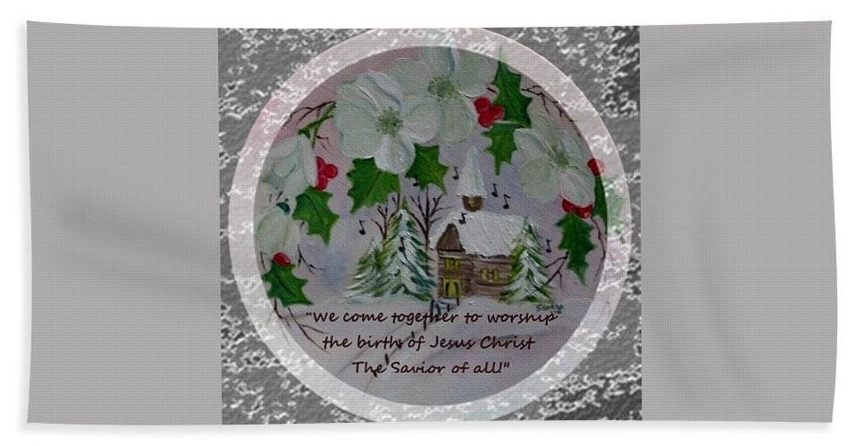 Church Hand Towel featuring the painting A Place Of Worship by Sandra Maddox