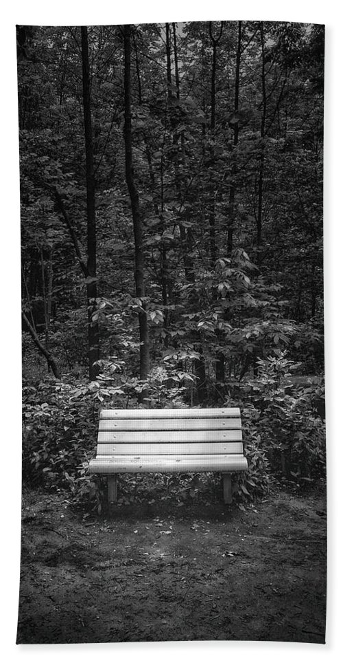 Black And White Hand Towel featuring the photograph A Place To Sit by Scott Norris