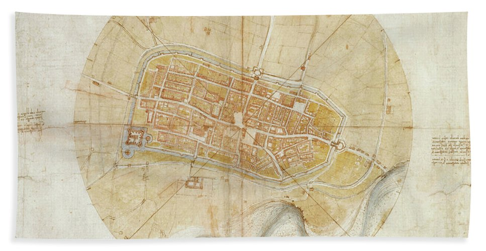 Leonardo Da Vinci (vinci 1452-amboise 1519) A Plan Of Imola 1502 Bath Sheet featuring the painting A Plan Of Imola by MotionAge Designs