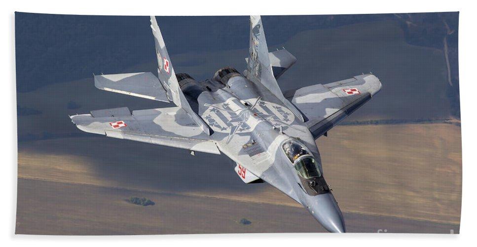Horizontal Bath Sheet featuring the photograph A Polish Air Force Mig-29 Aircraft by Daniele Faccioli
