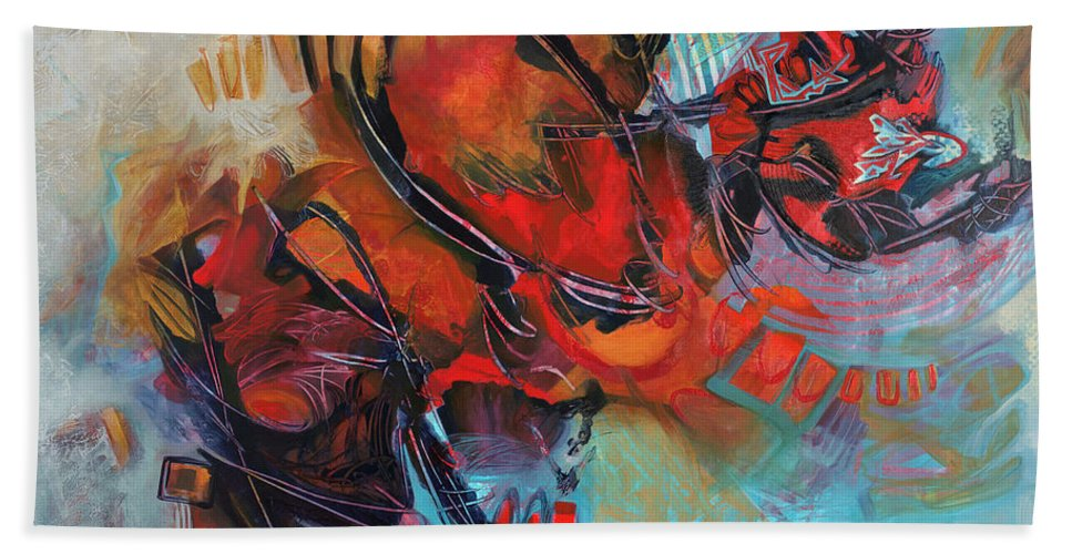 Abstract Bath Sheet featuring the painting A Posh Event by Thyra Moore