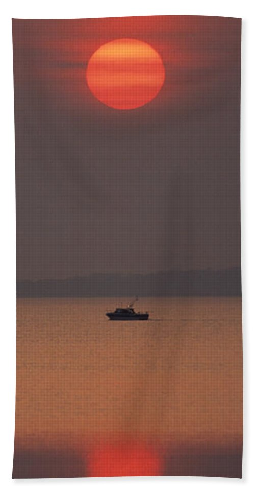 Fishing Boat Bath Sheet featuring the pyrography A Power Boat On Its Way To The Fishing Grounds by John Harmon
