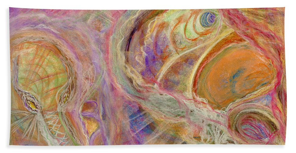 Abstract Bath Sheet featuring the pastel A Prostitute by Diane Morrison