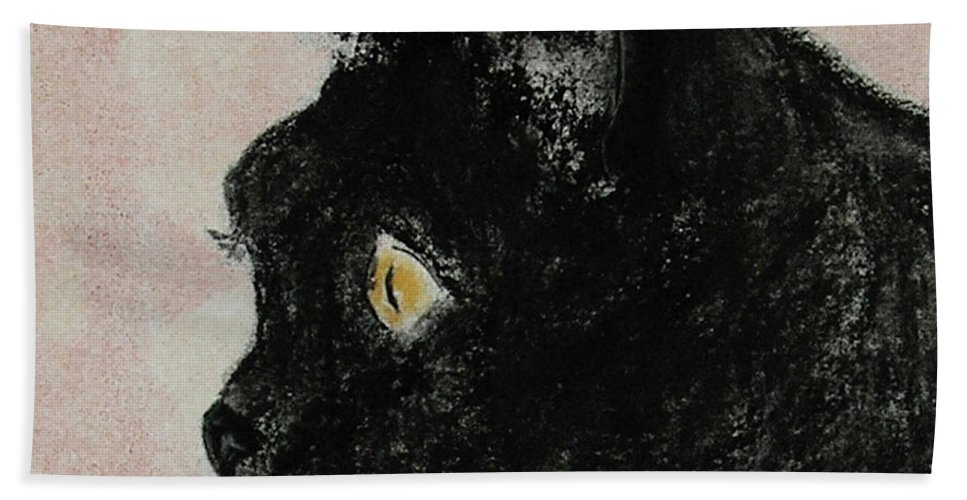 Pastels Hand Towel featuring the mixed media A Purrfect Vision by Cori Solomon