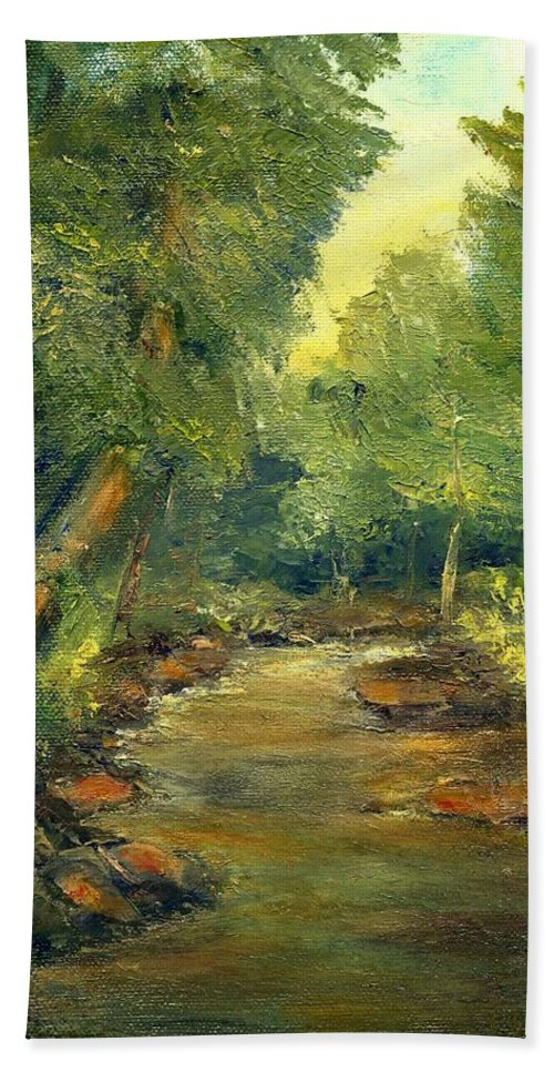 Creek Hand Towel featuring the painting A Quiet Place by Gail Kirtz