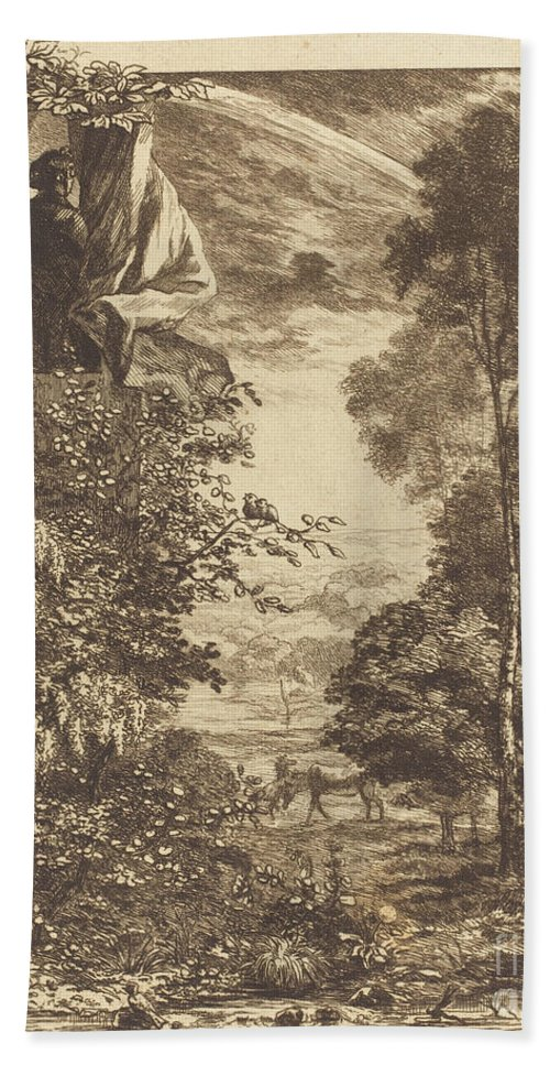 Hand Towel featuring the drawing A Rainbow Landscape With Two Women Viewing It From Above by F?lix Bracquemond