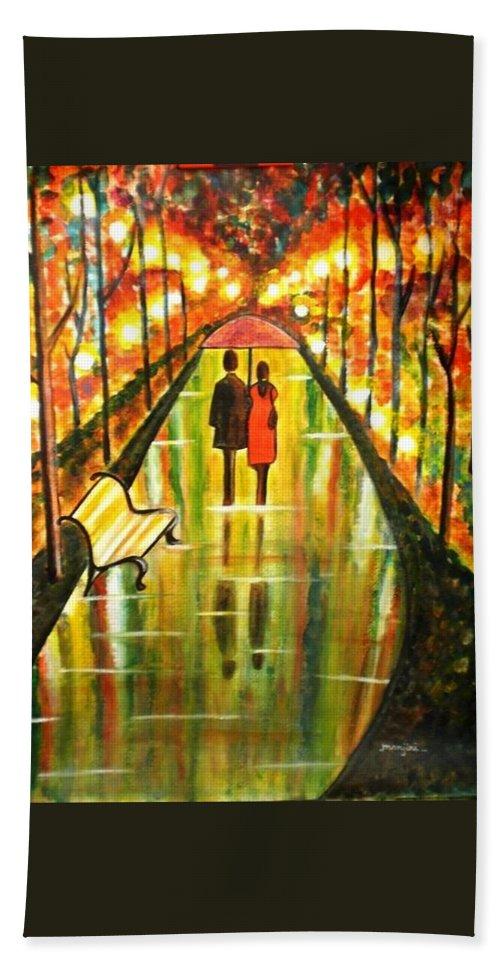 Romantic Painting Art Colorful Rainy Umbrella Bench Road Bath Towel featuring the painting A Rainy Day III by Manjiri Kanvinde