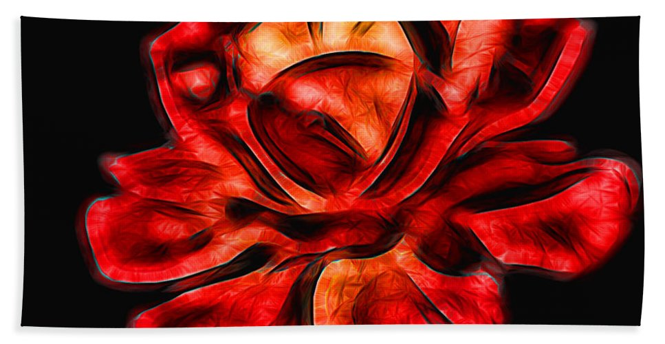 Red Bath Sheet featuring the photograph A Red Rose For You 2 by Mariola Bitner