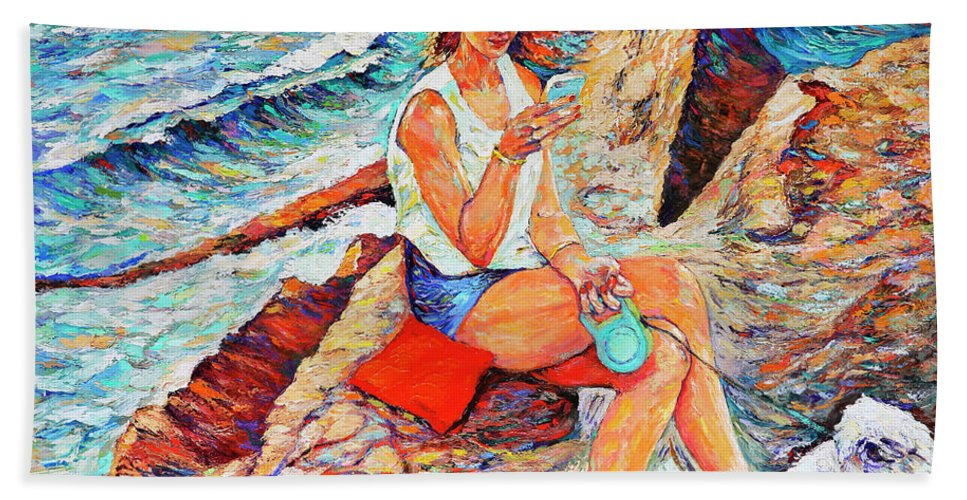 Oil Painting. Canvas Hand Towel featuring the painting A Relaxing Moment by Abraham Fisher