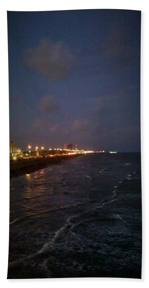 Galveston Hand Towel featuring the photograph A Relaxing Night Begins by J L Hodges