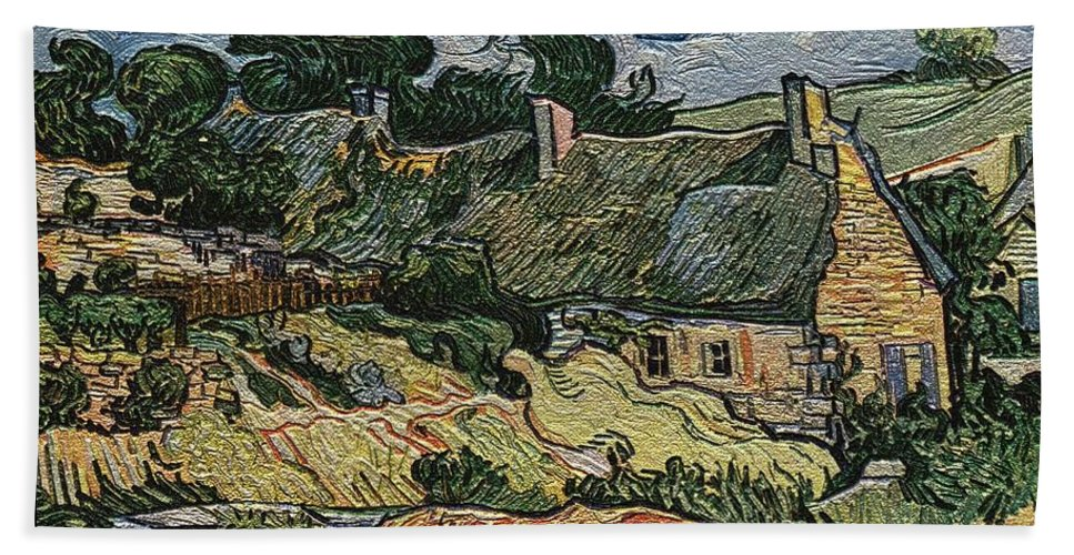 Landscape Bath Sheet featuring the digital art a replica of the landscape of Van Gogh by Pemaro