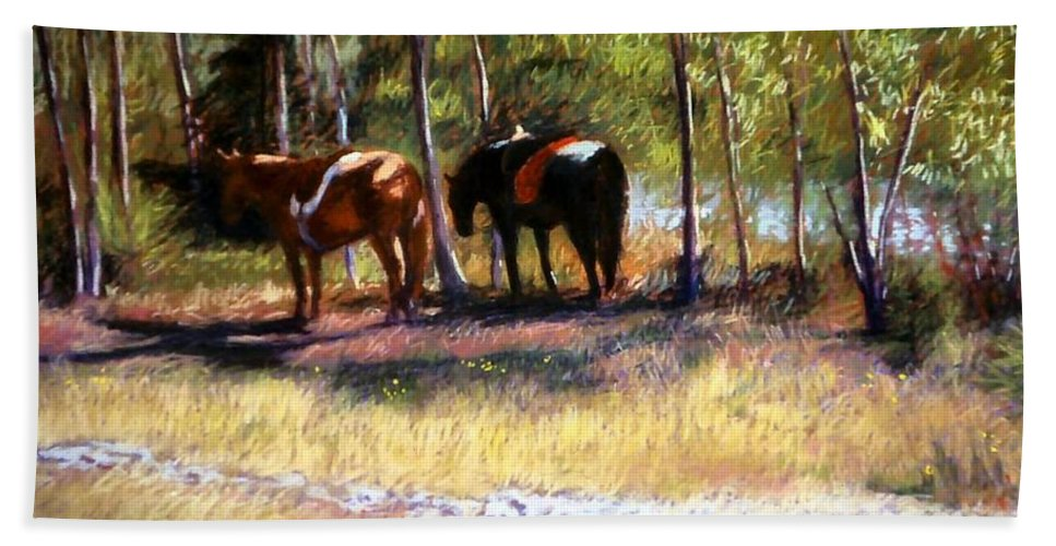 Pastel Hand Towel featuring the painting A Rest By The River by Mary McInnis