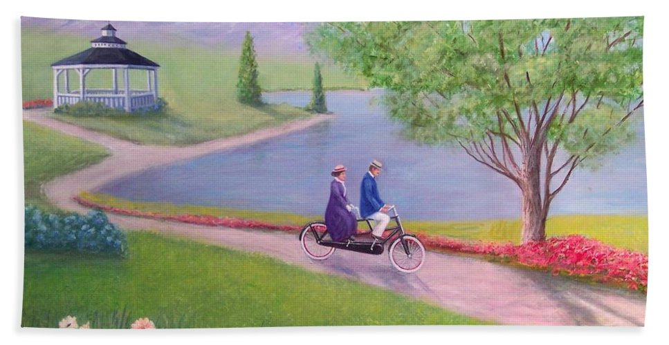 Landscape Bath Sheet featuring the painting A Ride In The Park by William H RaVell III