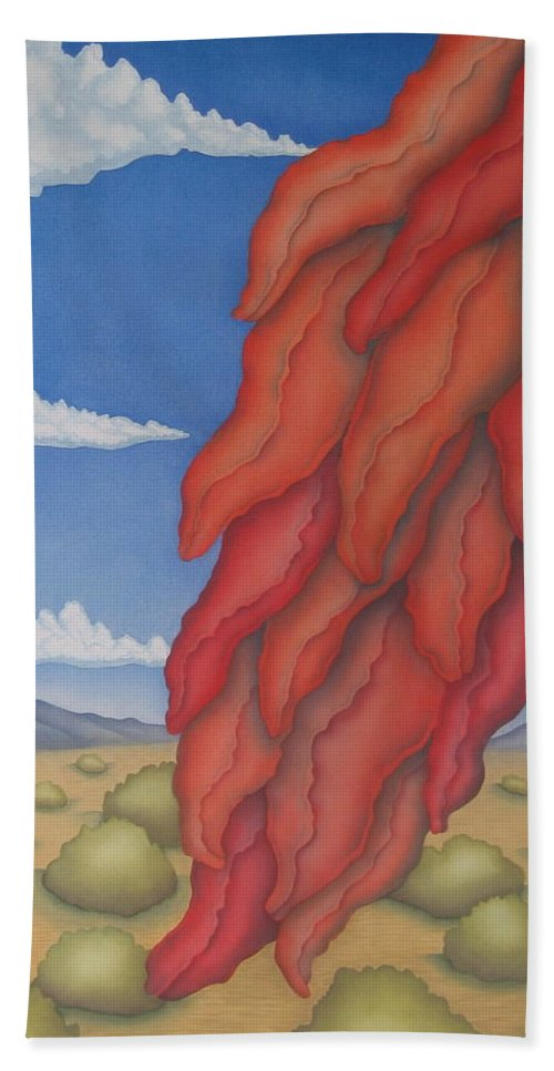 Southwest Hand Towel featuring the painting A Ristra On A Breeze by Jeniffer Stapher-Thomas
