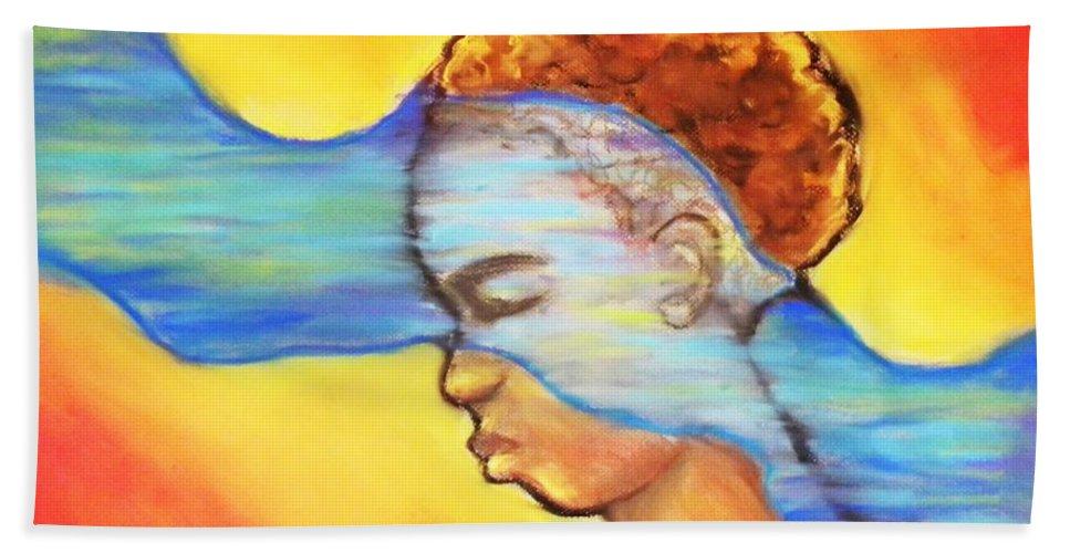 Woman Bath Sheet featuring the pastel A River Runs Thru by Jan Gilmore
