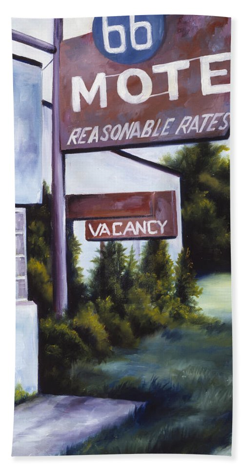 Motel; Route 66; Desert; Abandoned; Delapidated; Lost; Highway; Route 66; Road; Vacancy; Run-down; Building; Old Signage; Nastalgia; Vintage; James Christopher Hill; Jameshillgallery.com; Foliage; Sky; Realism; Oils Bath Sheet featuring the painting A Road Less Traveled by James Christopher Hill
