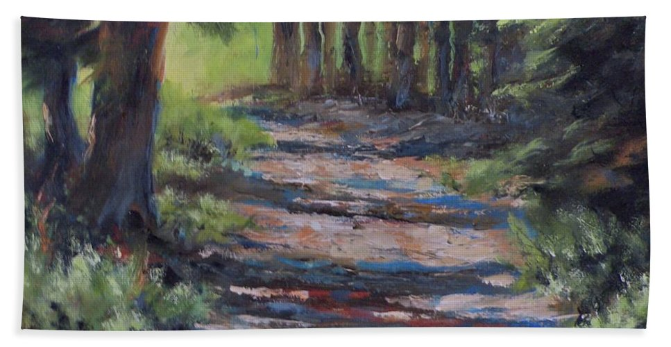 Landscape Hand Towel featuring the painting A Road Less Travelled by Mia DeLode