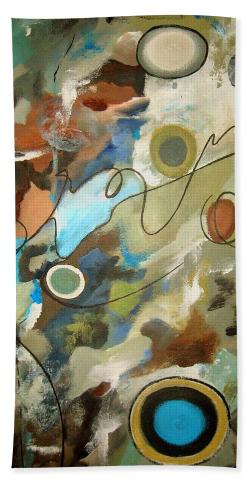 Abstract Bath Sheet featuring the painting A Rolling Stone Gathers No Moss by Ruth Palmer