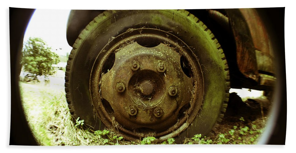 Art Hand Towel featuring the photograph A Rolling Tire Gathers No Moss by Clayton Bruster
