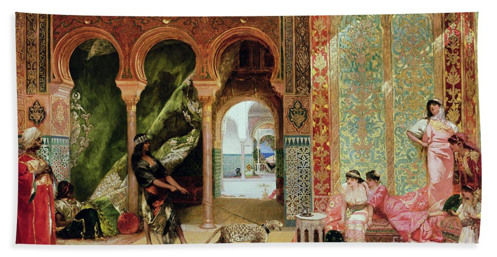Royal Bath Towel featuring the painting A Royal Palace In Morocco by Benjamin Jean Joseph Constant