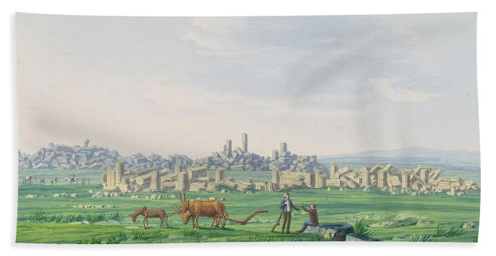 Zerelli Bath Sheet featuring the painting A Ruin Landscape In Sicily by Zerelli