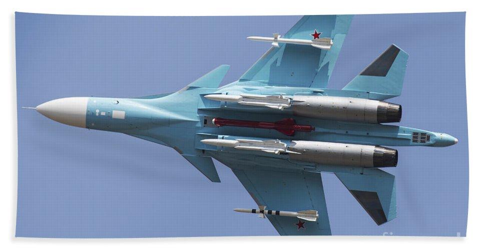 Horizontal Bath Sheet featuring the photograph A Russian Air Force Su-34 In Flight by Daniele Faccioli
