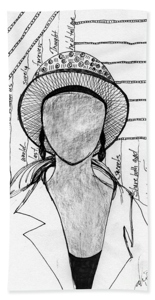 Poems Bath Sheet featuring the drawing A Sad Woman by Angela L Walker