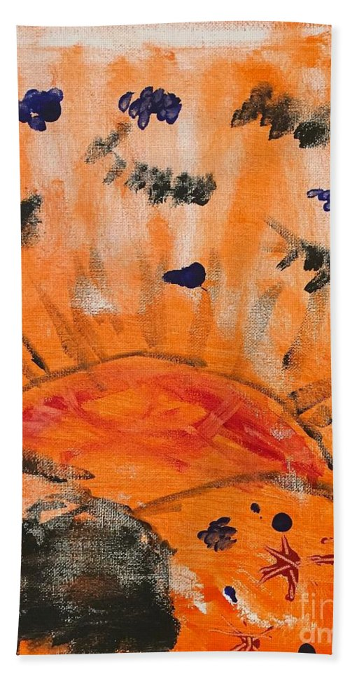 Abstract Hand Towel featuring the painting A Satisfying Sunset by Wonju Hulse