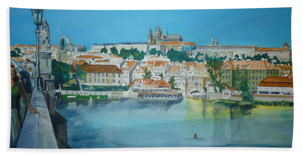 Prague Bath Sheet featuring the painting A Scene In Prague 3 by Bryan Bustard