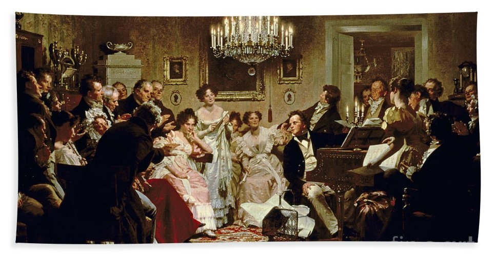 A Schubert Evening In A Vienna Salon By Julius Schmid (1854-1935) Bath Towel featuring the painting A Schubert Evening In A Vienna Salon by Julius Schmid