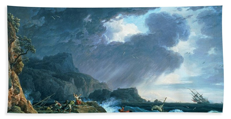 A Seastorm Hand Towel featuring the painting A Seastorm by Claude Joseph Vernet