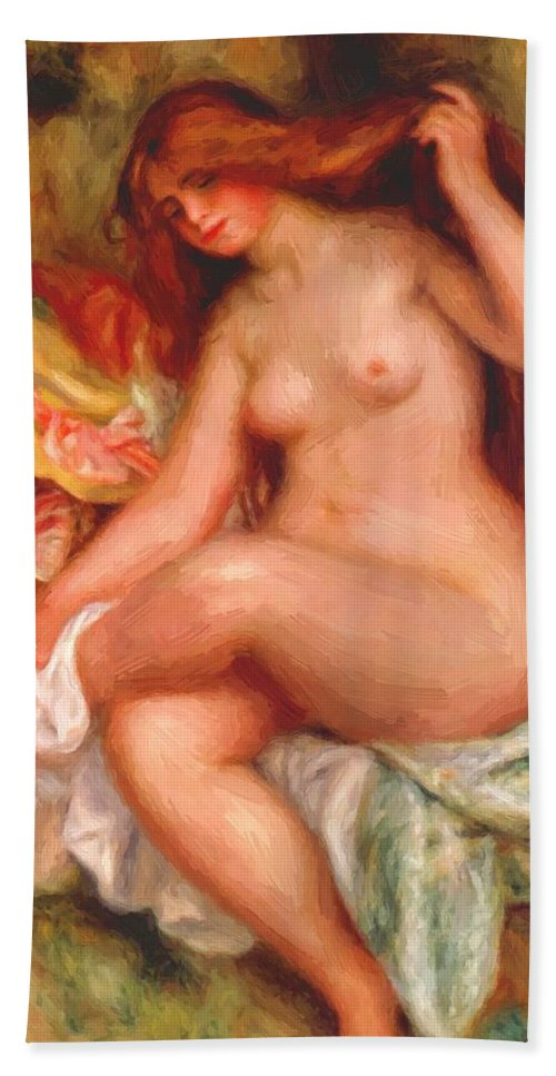 A Hand Towel featuring the painting A Seating Bather 1906 by Renoir PierreAuguste