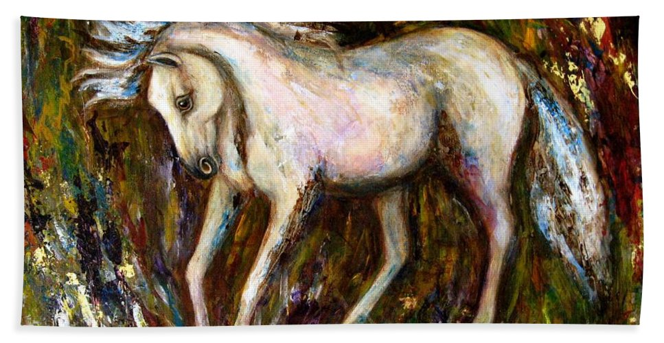 Horse Painting Bath Towel featuring the painting A Secret Place White Hores Painting by Frances Gillotti