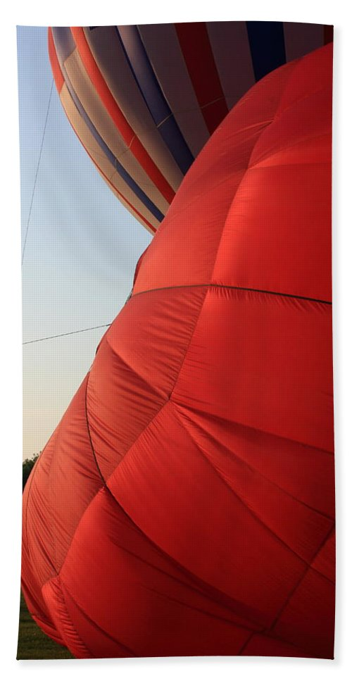 Hot Air Balloon Hand Towel featuring the photograph A Sense Of Scale by Lyle Hatch