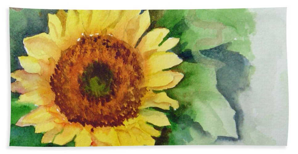 Flower Bath Sheet featuring the painting A Single Sunflower by Katherine Berlin