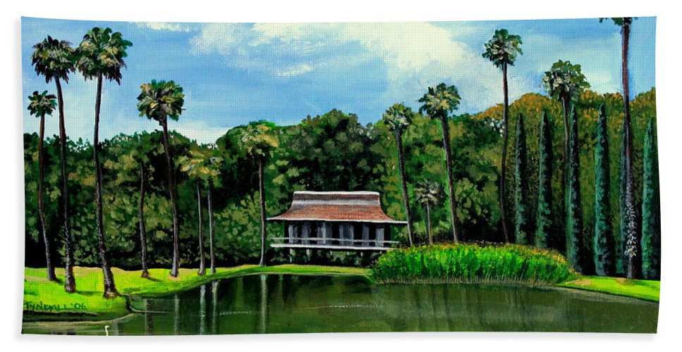 Landscape Hand Towel featuring the painting A Slice Of Paradise by Elizabeth Robinette Tyndall
