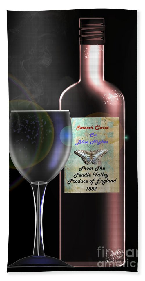 Digital Art Hand Towel featuring the digital art A Smooth Claret On Blue Nights by Peter McHallam