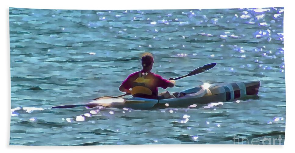 Kayak Bath Sheet featuring the digital art A Solitary Afternoon 2015 by Kathryn Strick