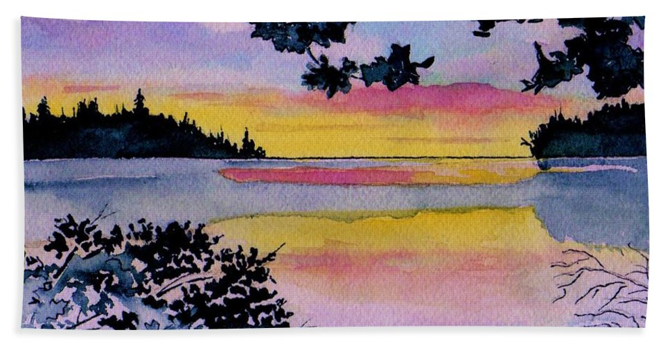 Watercolor Hand Towel featuring the painting A Song Of Color by Brenda Owen