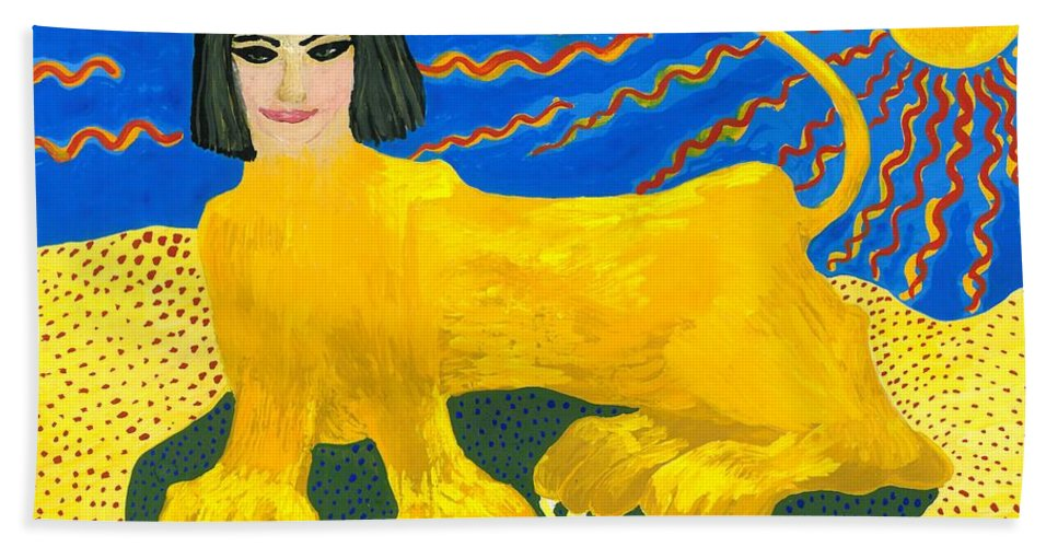 Sue Burgess Bath Sheet featuring the painting A Sphinx by Sushila Burgess