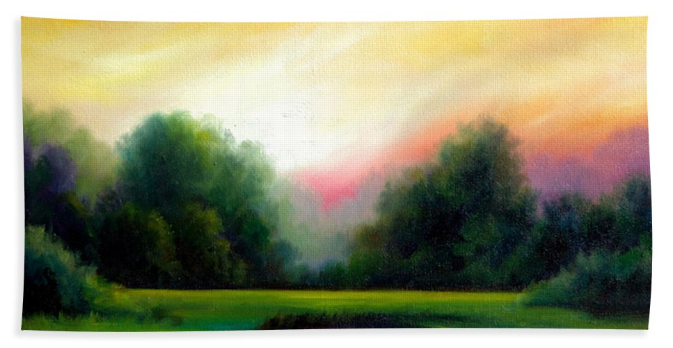 Clouds Bath Towel featuring the painting A Spring Evening by James Christopher Hill