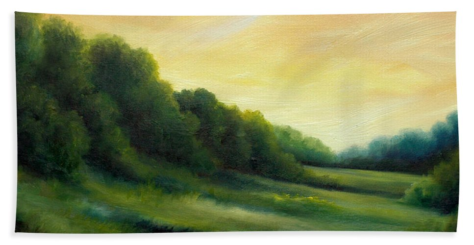 Clouds Bath Towel featuring the painting A Spring Evening Part Two by James Christopher Hill