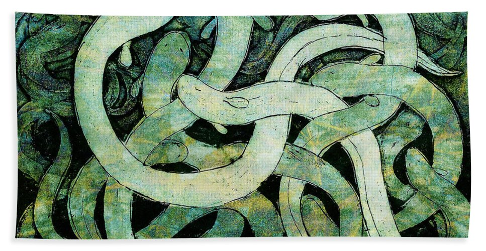 Eel Hand Towel featuring the drawing A Squirm Of Eels At The Bottom Of The Pond by Nareeta Martin