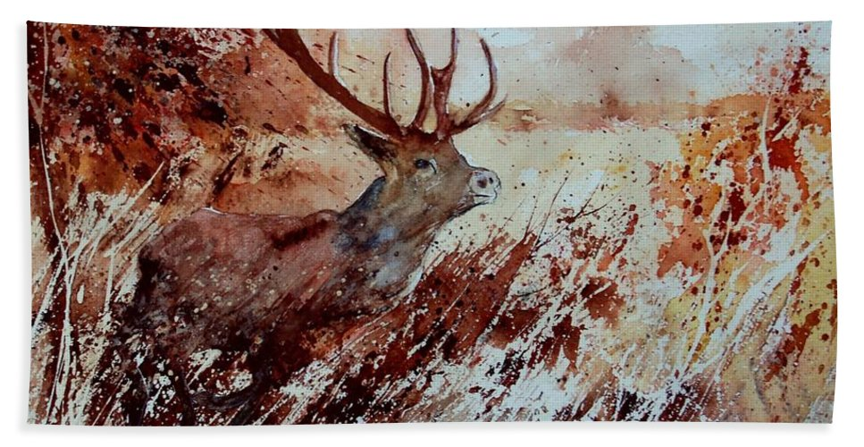 Animal Bath Towel featuring the painting A Stag by Pol Ledent