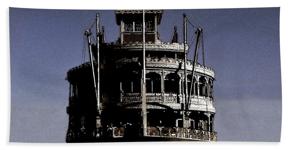 Steamboat Hand Towel featuring the painting A Steamboat Coming by David Lee Thompson