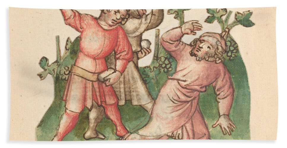 Hand Towel featuring the drawing A Stoning by Austrian 15th Century